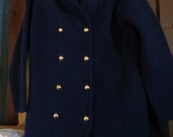 60s navy blue double breasted   acrylic d sweater jacket   size 38 by Dorette