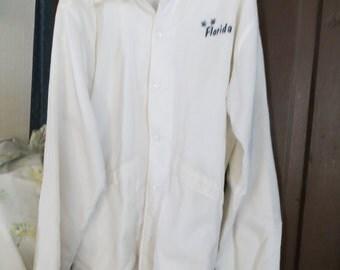 retro  1970s PLA-JAC Dunbrooke WHITE nylon snap front windbreaker   Florida  jacket    sz large