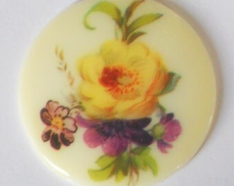 N1385 Vintage Cabochon floral Bouquet Flowers Limoges Style 35mm Cab NOS Glass