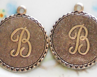 N90B Vintage Initial B Charm Charms Letter Old Fashioned Antique Silver Ox Tag