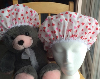 Mommy and Me Hearts Shower Cap Bonnet Set of Two Waterproof Durable Soft Vinyl Caps with Soft Fabric Liner