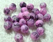 Pink And Black Veined Glass Beads - (8mm) - (24 Pcs) - B-1406