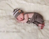 Knit Newborn Overalls - Newborn Boy Photography Prop - Overalls and Beanie Set