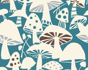 Organic Cotton Fabric- Monaluna- Westwood- TOADSTOOLS - low shipping