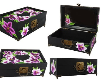 Hand Painted Purple Orchid Jewelry Box - Stunning Purple and White Phaelenopsis Orchids, Painted Mirror - Painted Bridal Jewellry Box