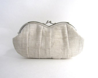 Frame sunglasses case/ Clutch Purse- Pleated natural linen clutch