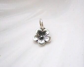 Sterling Silver Tiny Cherry Blossom Flower Charm - Add On - Spring Flower