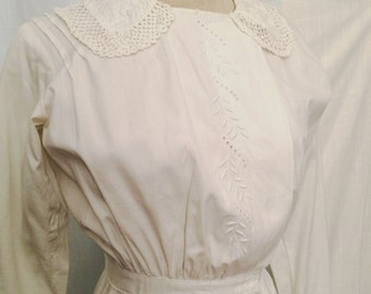 Vintage 1910 Edwardian Embroidered Linen Dress with Handmade Lace Like New