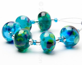 Rainforest Turquoise Mix Handmade Lampwork Glass Beads by Sarah Downton