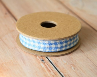 Pale BLUE GINGHAM fabric cotton blend ribbon