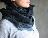 Black scarf felted cowl women neck warmer merino wool hood winter men chunky scarf grey cotton scarf infinity cowl loop scarf