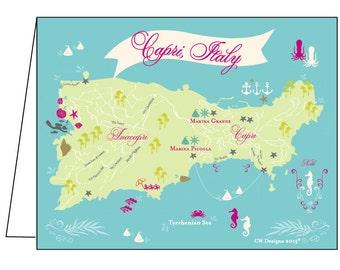 Set of 10 Capri, Italy Notecards