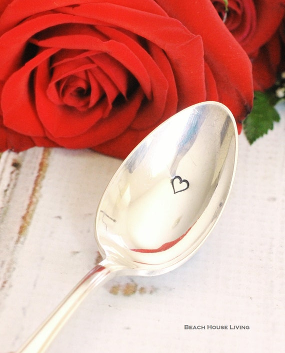 Vintage hand stamped heart silver plated spoon  flatware valentines day beachhouseliving  on etsy