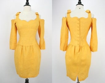 80s Dress Vintage Lolita Lempicka Paris Yellow Linen Designer 1980s Dresses