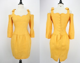 80s Vintage Lolita Lempicka Paris Dress Mini Avant Garde Yellow Linen Cut Out Shoulders Bows Sweetly Edgy Designer Runway 1980s Dresses