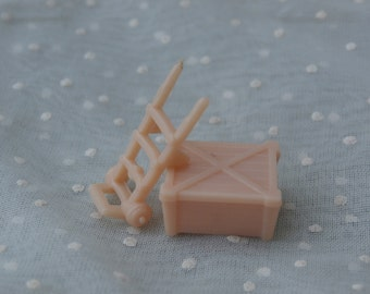 L Dolly Cart and Crate  Miniature Pieces Plasticville USA Ho Scale Tiny Furniture