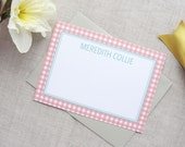 Personalized Stationery | Set of 10 Custom Flat Note Cards | Gingham Pattern | Custom Colors
