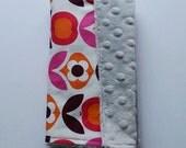 Floral Scandi Print Luxury Minky Cuddle Dimple Mini Blanket Comforter