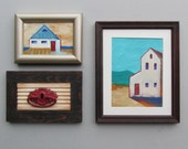 original wall art collection-Ocean View- original acrylic paintings -  assemblage - framed artwork