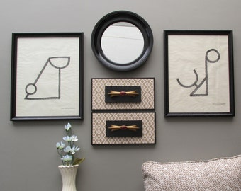 wall art - Cosmopolitan  - a 5 pc wall gallery collection with mirror- feng shui