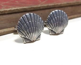 SALE Antiqued Silver Sea Shell Cuff Links - Soldered - Beach Sea Wedding Antique Silver Cufflinks CLEARANCE