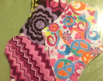 Trial pack of 3 Reusable Cloth Pads You Choose Flannel fabric