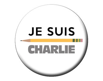 """Je Suis Charlie Pin - I Am Charlie Hebdo Large 2.25"""" Pin Back Button - Solidarity with French Magazine Terrorist Attack Victims"""