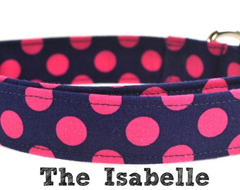 The Isabelle - Pink and Navy Polka Dot Dog Collar