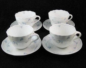 """Hutschenreuther """"Seehof"""" Tea Cups & Saucers(4 sets)RARE!"""