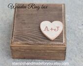 Wedding Ring wood box rustic wedding favor custom made ring box