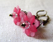 Baby Pink Flower Earrings, Pink Bouquet, Romantic Floral Earrings, Botanical Jewelry, Antiqued Brass, Vintage Style Flower Earrings