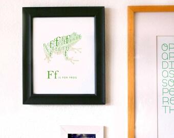 Digital Alphabet Art Print, F is for Frog 8x10 Inch