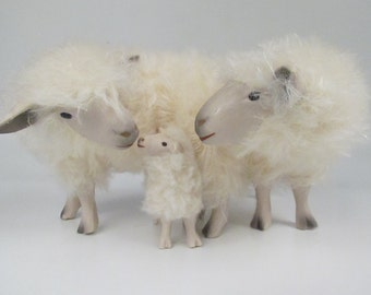 Porcelain Sheep Family,  Woolly English Cotswold
