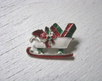 Festive little Christmas Holiday Sleigh pin brooch with enamel presents