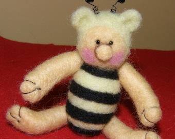 Needle Felted Wool Teddy Bee