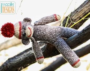 PATTERN 14 inch Classic Twist Sock Monkey Doll Crochet PDF Pattern