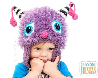 CROCHET PATTERN Elly the Cherry Cat Monster Hat Crochet Pattern in PDF