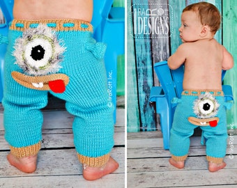 KNIT PATTERN, Silly Creatures Pants, 3 Designs in 1 Pattern, Alien, Lion and Owl, Knit Pattern in PDF, Instant Download