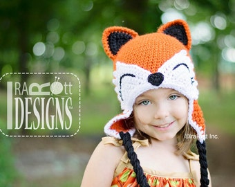 CROCHET PATTERN Moxie and Roxy the Red Forest Foxes Crochet Hat Pattern in PDF