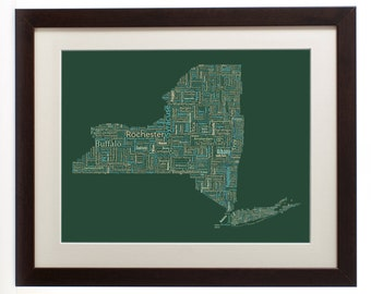 """New York State Framed Type Map Art Print - 16"""" x 20"""" // Additional Sizes Available"""