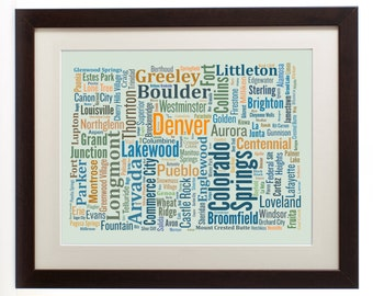 """Colorado State Framed Type Map Art Print - 16"""" x 20"""" // Additional Sizes Available"""