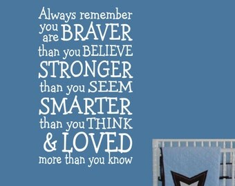 Vinyl Wall Lettering Nursery Braver Stronger Smarter Loved Word Subway Art Quotes Decal