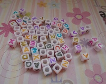 Wholesale 50pcs 6mmx6mm colorful Acrylic Smile Beads with 3mm Hole
