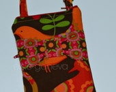 Bright Colorful Brown Red Orange Pink Pretty Bird Bow Phone Case  Optional Shoulder Strap iPhone 4 5 6 Plus Note Large Phone