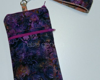 Purple Pink Orange Floral Batik Phone Case Wristlet iPhone 5 6 Plus LG Android Samsung Xperia