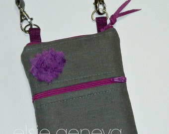 Dark Gray & Magenta Linen Phone Case Wallet with Rosette Optional Shoulder Strap or Wristlet  iPhone 6 Plus Note