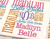 Personalized Baby Blanket Monogrammed Baby Blanket Name Blanket Swaddle Receiving Blanket Baby Shower Gift Photo Prop Birth Announcement