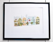 Art Print - Painted Ladies - San Francisco, California, JPress Designs, house portrait, original artwork, whimsical, illustration, modern,