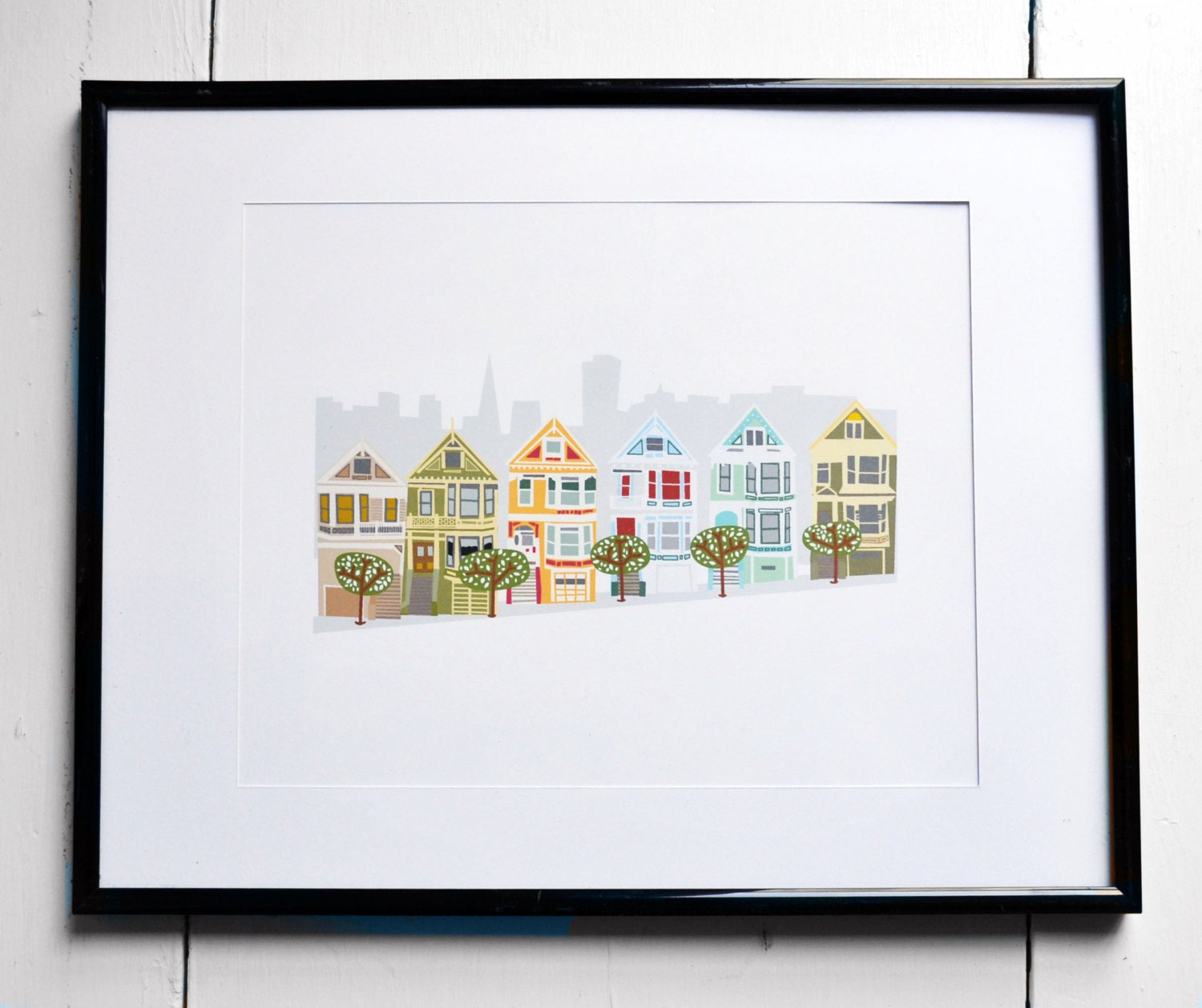 Color art printing anchorage - Art Print Painted Ladies San Francisco California Jpress Designs House Portrait Original Artwork Whimsical Illustration Modern