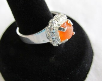 Seaglass Adjustable Ring, Orange Beach Glass Ring, Adjustable Silver Plated, Sea Glass Jewelry, Beach Glass Jewelry